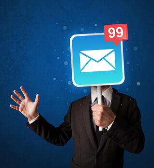 Smart businessman holding square sign with mail icon